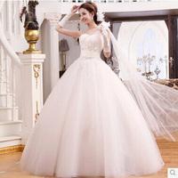 Wedding Dress One Shoulder 2014 New Arrival Tube Top Floor Length Flower Wedding Dress Slim Princess Wedding Dress 2,4,6,8,10
