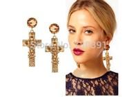 Free shippingNew Arrival Fashion Charm Punk Style Metal Golden Cross Rivet Rhinestone Earring