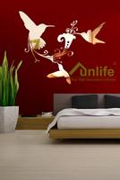 Funlife 56x66cm Hummingbirds Flower Vine Reflective Chrome Mirror-like Finish Wall Stickers Art Mural For Living Room RFS016
