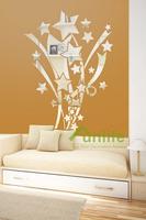 Funlife 55x70cm Stars and Ribbons Reflective Chrome Mirror-like Finish Wall Stickers Cartoon Nursery For Kids Room RFS014