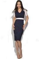2014 Elegant Ladies' V-Neck Fashion Celebrity Pencil Dress,Women Office Dress,Slim Knee-Length Patchwork Party Bodycon DressY034