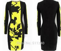 2014 Autumn Womens Celeb O-Neck Long Sleeve Contrast Floral Print Color Block Stretch Bodycon Dress