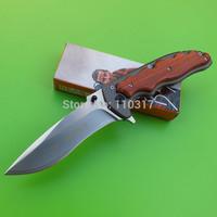Pocket Knife, 440C folding blade, satin finished, plain edge, wooden handle with pocket clip, free shipping