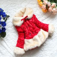 2014 Winter Faux Fur Coat Long Sleeve Girls Fur Collar/Cuff/Hem Down Coat Fashion Kids Winter Dress Warm Parkas Party Costumes