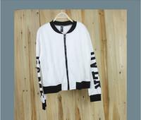 2014 New Harajuku zipper  baseball uniform jacket letter long sleeve women fashion simple thin jacket women hoodie cargidan coat