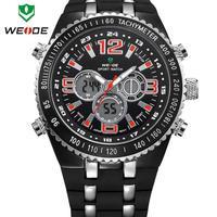 Chrismas Gift WEIDE Watch 304501 Men Watch Cool & classic design Sports Watch 30m Water Resistant Silicone Strap Wrist Watch