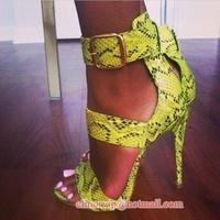 Summer fashion women green python patten toe open cover heel ankle buckle straps high heel gladiator sandal dress shoes size 10