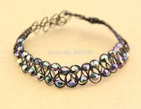 2014 new  Rainbow Beads Tattoo Choker Elastic Necklace Pendant Grunge 90s Festival