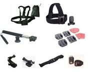 Gopro Chest Belt+ Headstrap Quickclip + Monopod + Flat Curved Mounts + J-Hook + Buckle Basic Mount + WiFi Belt + Helmet Strap