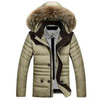 2014 Winter High Quality Men's Long Jacket Fur Hood Coats Thicken Warm Down Coat Wholesale Retail Free Shipping  M-3XL YYJ504