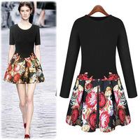 free shipping In the fall of 2014 new women's dress fashion slim embroidery printing dress dress jackets women women coat