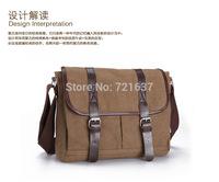 Men's Vintage Canvas Leather School Military Shoulder Bag Messenger Bag crossbody bag for men travel bag  Bookbag Coffee
