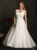 2014 Gorgeous pretty appliques lace above back ZipperBall-Gown Halter Organza sexy hot white/ivory longPlus Size Wedding Dresses