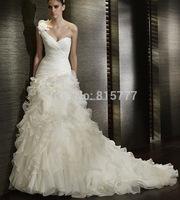 Newly Designed Ballgown Chapel Train Organza Flowered One Shoulder Ruffles Wedding Dresses