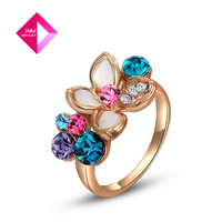 D&Z exquisite rose-golden colorful flower rings,fashion jewelrys,high quality,newest arrival,Christmas gifts,ring series