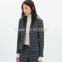 New 2014 Fashion lady stylish striped print office lady blazer suit zipper pocket long sleeve casual slim OL outwear TOPS45