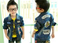 Size110~160 Retail 1pcs boys coat kids jackets children outerwear spring autumn Long sleeve child  denim jeans