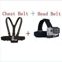 Go pro Harness Adjustable Elastic Chest Gopro Belt + Head Stap Mount Strap with Plastic Buckle for Gopro Hero 2 3 3+