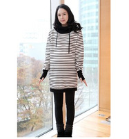 Free Shipping Korean fashion striped even finger sets of pregnant women sweater Large yard Hooded hedging sweater