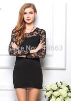 Women's Dress Big Yards Patchwork  Lace Hollow-out Sleeve Package Hip Dress Underskirt Dress 1383
