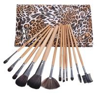 Hot Sale 12 pcs Women Leopard Print Professional Makeup Brushes Set Luxurious Cosmetic Brush set Kit Case With Bag Maquiagem