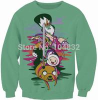 drop shipping G65 Harajuku 2014 New Women fashion girl Casual Sweatshirt 3D Cartoon Adventure Time Print O Neck Cute Hoodies