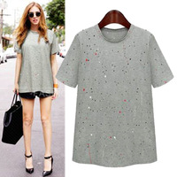 New Womens Tops Casual Short Sleeve Print Loose T-shirt High Street Fashion Vintage Hole Novelty Summer Clothes 2769