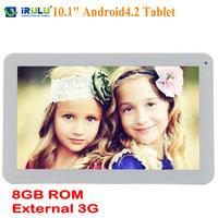 "iRulu 10.1"" Android 4.2 Tablet PC Dual Core Cam A9 8GB HDMI WIFI G-sensor White"