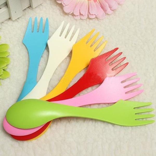 1PCS Hot Spork Cutlery Camping Travel Hiking Outdoor Spoon Fork Knife Utensils Gadget(China (Mainland))