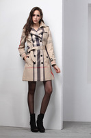Hot sales2014 Women Fashion British Long Style Plaid Trench Coat/Designer Double Breasted Belted Slim Coat F260A085 KHAKI M-XXL