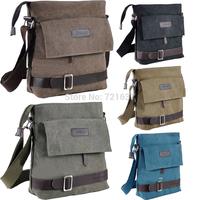 5 colors Men's Vintage Canvas Messenger Bag crossbody bag travel bag Bookbag Leather School Military Shoulder Bag Free shipping