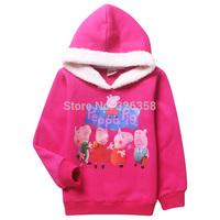 5 pcs Baby girls Peppa Pig thick fleece hoodies/kids cartoon Sweatshirts/children peppa winter outerwear warm sport jacket,4-9Y