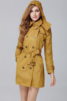 New 2014 Spring&Autumn Women British Hooded Trench coat/Designer Long Double Breasted Thin Outerwear F270A21510 size S-XL