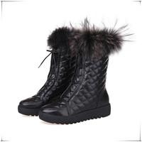 European New Shoes Woman Genuine Leather Boots Fox Fur Winter Boots Platform Martin Boots Fashion Women Shoes