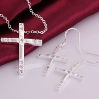 XMAS Wholesale 925 Silver Necklace Earrings Set ! Fashion Inlay White Crystal Cross Women Silver Jewelry S757 Exquisite Packing