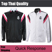Free Shipping Top Quality 14 15 Real Madrid White Soccer Jacket 2014 2015 Black Long Sleeve Sportswear