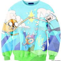 best quality G80 Harajuku 2014 New Brand Women pullover Casual Sweatshirt 3D blue Cartoon Print O Neck Hoodies hot selling
