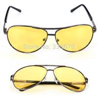 HD High Definition Night Driving Aviator Glasses Yellow Len Aviator Sunglasses Gun Frame Free Shipping