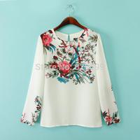 2014 Women's Elegant Blouse Floral Print Long Sleeve O-Neck Feminina Blusa Tops BD 71