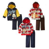 wholesale 5set/lot boy clothes long sleeve hooded cartton zipper jacket pants 2pcs set baby clothes ,sportsuit kids clothing