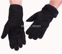 Men's Black Fur Pure Wool sheepskin leather gloves Wrist Gloves Warm Winter Gloves