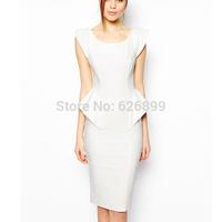 2014 Women's Elegant Dress Bodycon Party Cocktail Clubwear Feminina Falbala White Pencil Dress BD 70