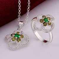 XMAS Wholesale 925 Silver Necklace Ring Set ! Fashion Color Crystal Four Leaf Clover Women Silver Jewelry S760 Exquisite Packing
