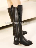 Discount Winter Long Boots Fur Inside Black Leather Knee High Flat Snow Boots Women High Quality Side Zipper AH127