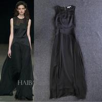 2014 Designer Women Evening Dress Mesh Insert Tank Sexy Full Dress Color Black Nude
