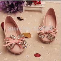 2014 summer girls child genuine leather bow diamond gentlewomen princess shoes