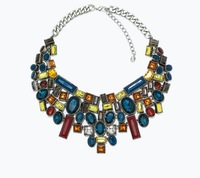 New Vintage Spain Brand za gold geometry colorful crystal Choker statement necklace Collar women 2014 fashion icon