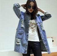 Autumn Woman Trench Coat 2014 Long Sleeve Vintage Cardigans Pocket Korean Loose Hole Fashion Femininos Coat R931
