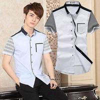 Wash and wear Mens Shirts,Men's dress Shirts,Mens Casual Fit Stylish Short sleeve Shirts Plus Size:M-6XL Free Shipping