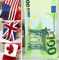 free shipping 2014 new arrived novelty euro dollar beach bath towel USA UK national flag bath towel